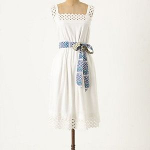 Anthropologie White Eyelet Lace Sundress XL